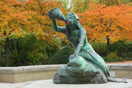 Nereid sculpture is part of Stuhlmanns fountain in the Hamburg district Altona.