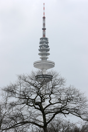 Hamburg TV tower. TV tower of Hamburg against the background of a misty sky in a city park in winter.