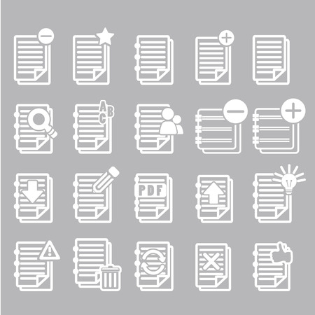 Documents note icons set Vector
