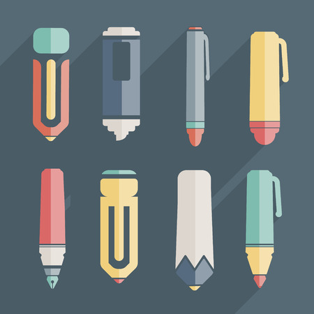 soft tip pen: icon stationery and brushes of color set Illustration