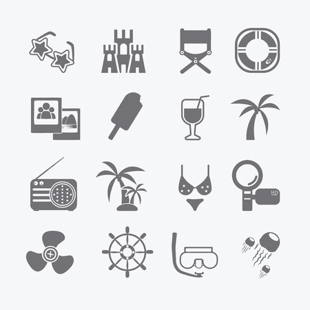 the sea set of icons  Vector