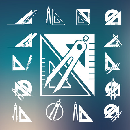 architect drawing: drawing compass icon set