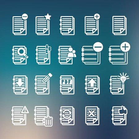 Documents note icons set