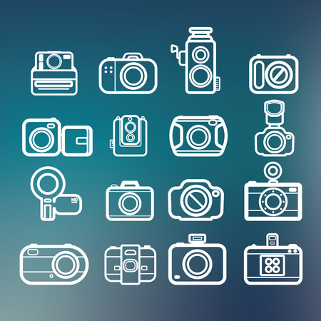 dslr: Camera icons of abstract blur backgrounds