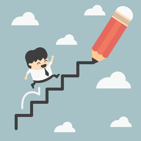 woman stairs: climbing ladder of success Illustration