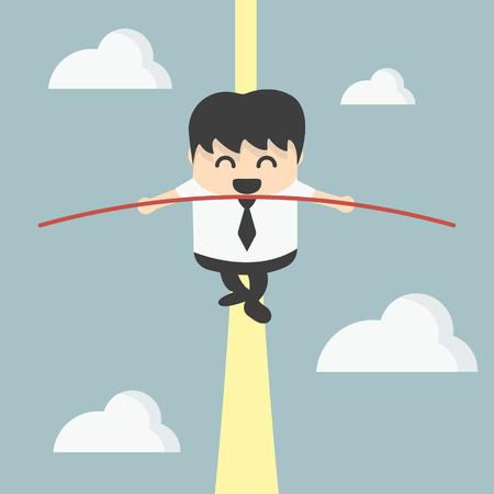 balance concept: Business man balancing