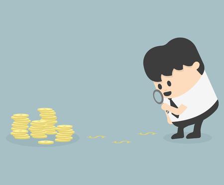 Homme d'affaires regardant le dollar par le biais loupe
