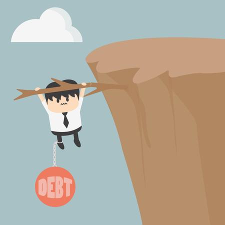 precipice: Business man with debt