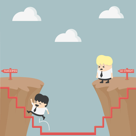 high way: Businessman and solution Illustration