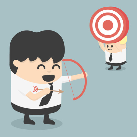 Businessman shooting target with a bow.eps.10 Vector