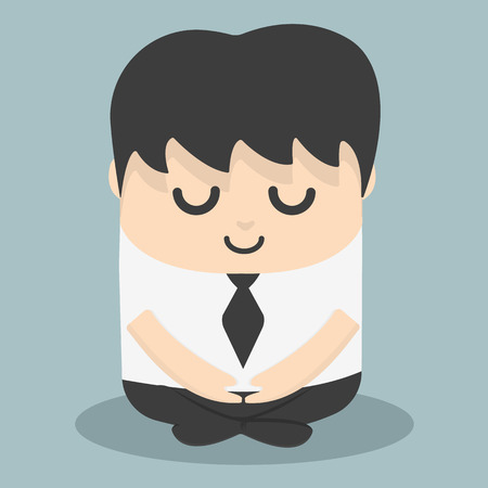 Calm businessman meditating Ilustrace