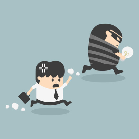 steal brain: Thief stealing bulb from another Businessman Illustration