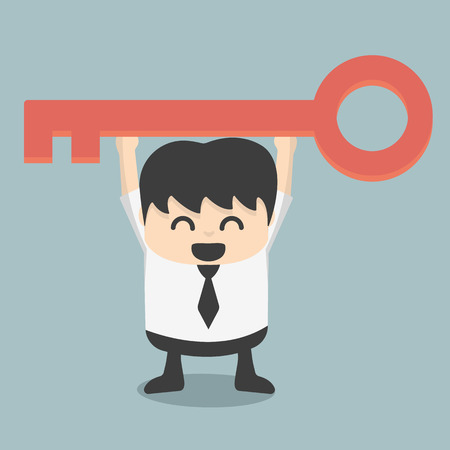 businessman is holding a key of success Stock Illustratie