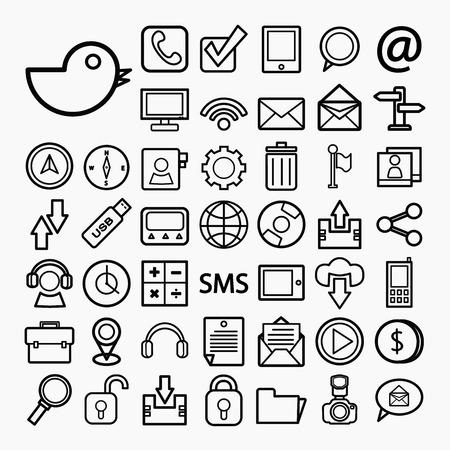 transportaion: Communication and transportaion icon set Illustration