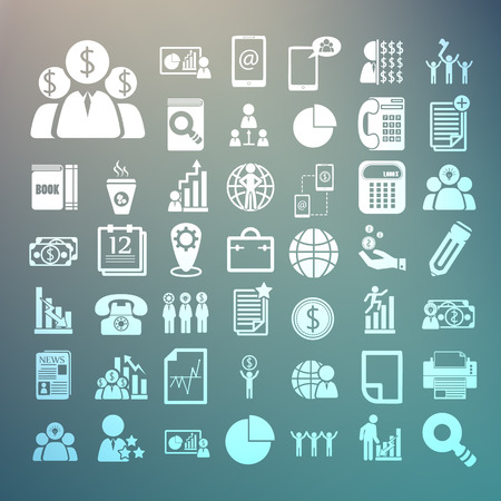 Business icons and Finance icons Set on Retina background