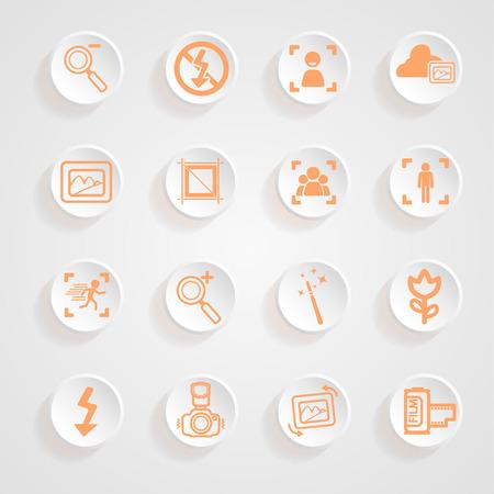 camera functions menu icons set Illustration