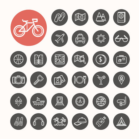 Travel and sea Icons set .Illustration eps10 Vector
