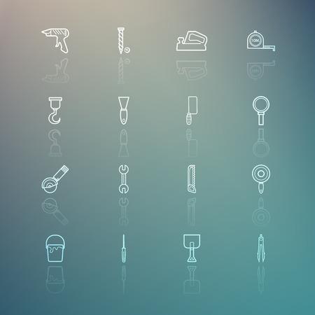 retina:  Tools icons on Retina background set.3 Illustration