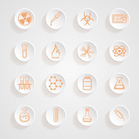 Science Series Icons button shadows  vector set Vector