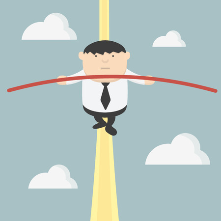 tightrope: fat businessman doing acrobats
