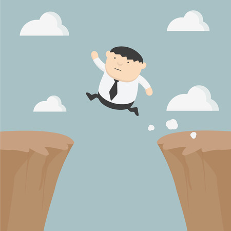 happiness or success: Fat businessman jumping over gap