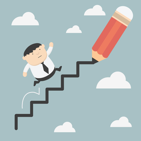 Fat business climbs the ladder of success Vector