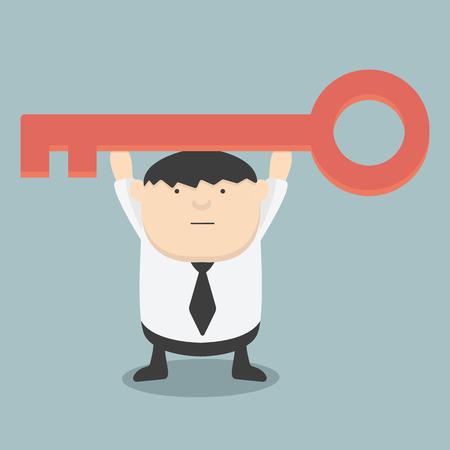 golden key: Fat businessman is holding a golden key of success Illustration