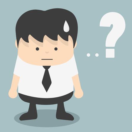 indeciso: Hombre de negocios con signo de interrogaci�n