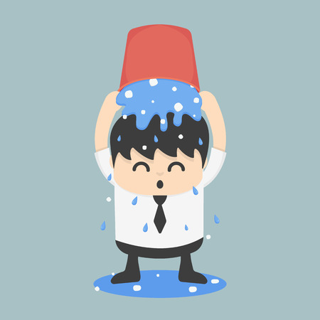 challenging: Ice bucket Challenge Businessman Illustration