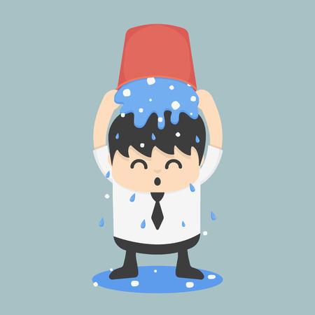 charity work: Ice bucket Challenge Businessman Illustration
