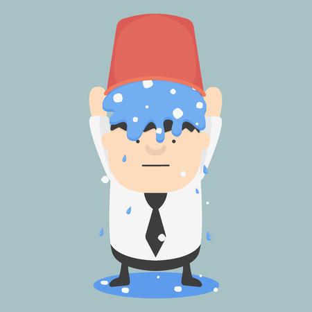 Ice bucket Challenge Fat Businessman Vector Illustration