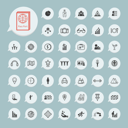 Business icons and itinerary icons Set on blue paper Vector