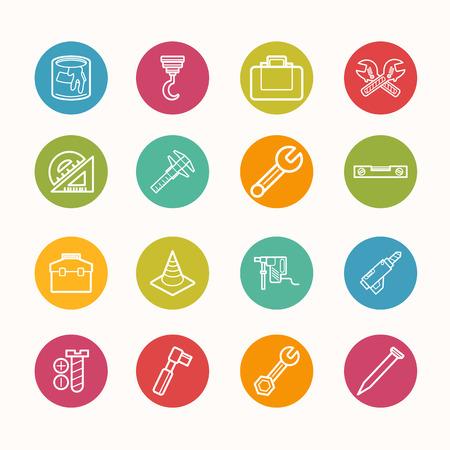 reamer: construction icons set Circle Series