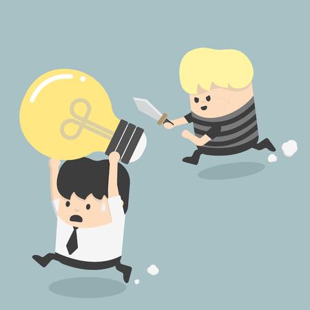resourceful: Concepts Cartoons Thief stealing idea Businessman Illustration