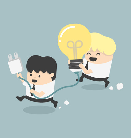 Illustration Concept Cartoons Business get an idea Vector