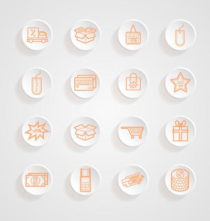Shopping Icons button shadows vector set Vector