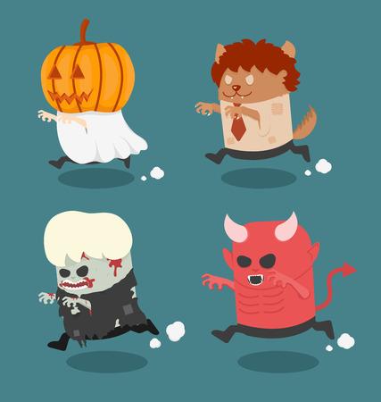 Halloween monster costume set 2 Vettoriali