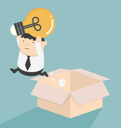flexible business: Jump out of the box Illustration