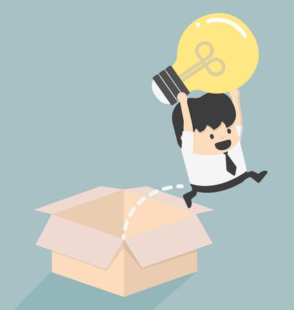 Pensez à l'extérieur du concept de boîte à succès Illustration