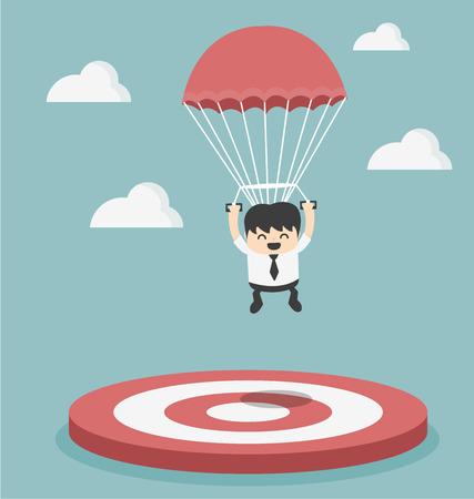 strategic focus: Businessman focused on a target Illustration