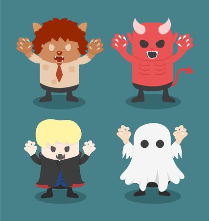 illustration of Halloween,front set 1