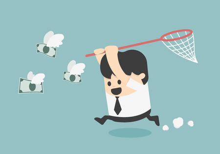 Konzept Geschäftsmann versucht, Geld Fliege zu fangen