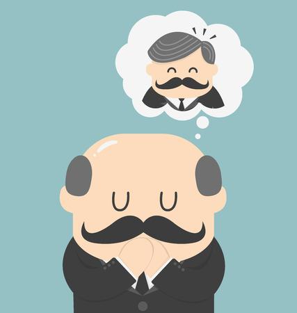 Träume der Männer mit Glatze