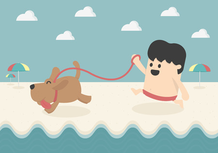 Business and dog play on the beach Vector