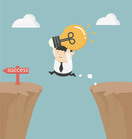 gap: fat businessman holding a light bulb over the cliff