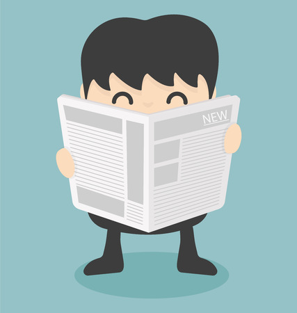 paper art: businessman reading  newspaper.vector Illustration