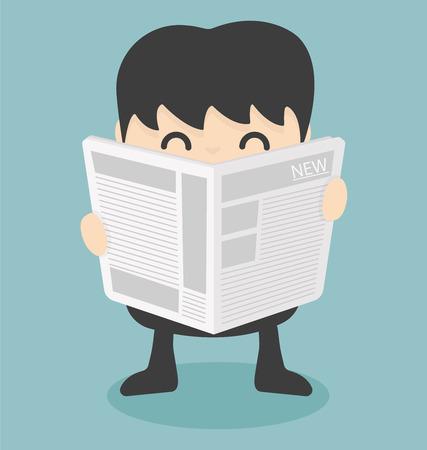 businessman reading  newspaper.vector Vectores