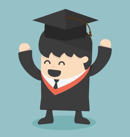graduation gown: Graduating young man Illustration