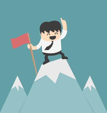 pico: El hombre de negocios que planta el indicador alto pico
