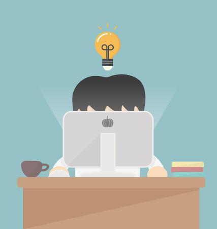 Zakenman werken op de computer. Stockfoto - 33747961